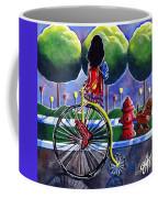 Riding Grandmas Bike Dog Antique Flowers Trees Coffee Mug