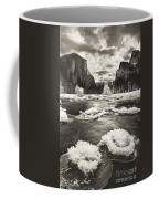 Rime Ice On The Merced In Black And White Coffee Mug