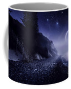 Rising Moon Over Ocean And Mountains Coffee Mug by Evgeny Kuklev