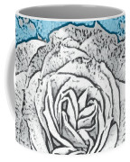 Ritzy Rose With Ink And Blue Background Coffee Mug