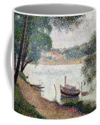 River Landscape With A Boat Coffee Mug by Georges Pierre Seurat