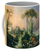 River Landscape With An Antique Temple Coffee Mug