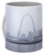 River Traffic In Front Of The Arch In The Snow Coffee Mug