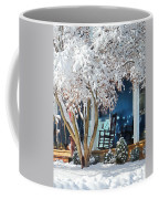 Rocking Chair On Porch In Winter Coffee Mug