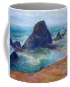 Rocks Heading North - Scenic Landscape Seascape Painting Coffee Mug
