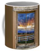 Rocky Mountain Country Beams Of Sunlight Rustic Window Frame Coffee Mug