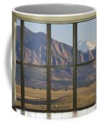 Rocky Mountains Flatirons With Snow Longs Peak Bay Window View Coffee Mug