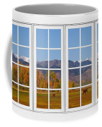 Rocky Mountains Horses White Window Frame View Coffee Mug