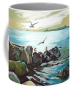 Rocky Seashore And Seagulls Coffee Mug
