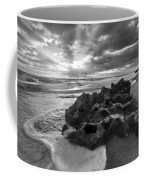 Rocky Surf In Black And White Coffee Mug