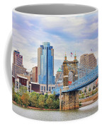 Roebling Bridge And Downtown Cincinnati 9850 Coffee Mug