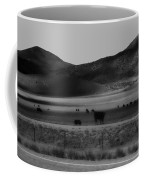 Rolling Hills And Cattle In Black And White Coffee Mug