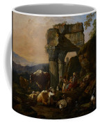 Roman Landscape With Cattle And Shepherds Coffee Mug by Johann Heinrich Roos
