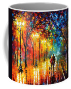 Romantic Stroll - Palette Knlfe Oil Painting On Canvas By Leonid Afremov Coffee Mug
