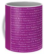 Rome In Words Pink Coffee Mug