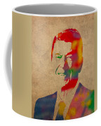 Ronald Reagan Watercolor Portrait On Worn Distressed Canvas Coffee Mug