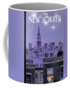 Rooftop Revelers Celebrate New Year's Eve Coffee Mug