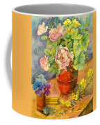 Roses And Pansies Coffee Mug by Julia Rowntree