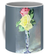 Roses In A Champagne Glass Coffee Mug by Edouard Manet