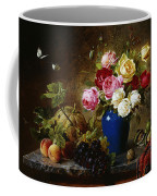 Roses In A Vase Peaches Nuts And A Melon On A Marbled Ledge Coffee Mug