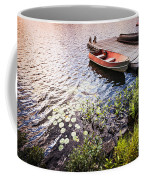 Rowboat At Lake Shore At Sunrise Coffee Mug by Elena Elisseeva