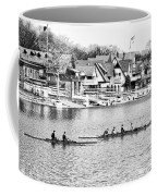 Rowing Along The Schuylkill River In Black And White Coffee Mug