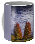 Rows Of Red Autumn Trees With Cirus Clouds Coffee Mug
