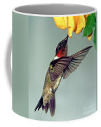 Ruby-throated Hummingbird Male At Flower Coffee Mug