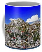 Rugged Cliffside Village Digital Painting Coffee Mug