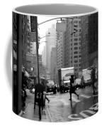 Running In The Rain - New York City Street Scene Coffee Mug