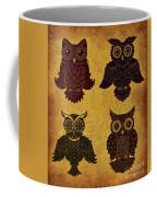 Rustic Aged 4 Owls Coffee Mug