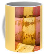 Rusty Oil Barrels Yellow Red Background Pattern Coffee Mug