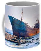 Rusty Old Shipwreck Aground  On Rocky Reef Coffee Mug