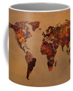Rusty Vintage World Map On Old Metal Sheet Wall Coffee Mug by Design Turnpike