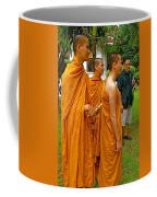 Saffron-robed Monks At Buddhist University In Chiang Mai-thailand Coffee Mug