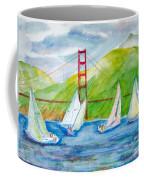 Sailboat Race At The Golden Gate Coffee Mug