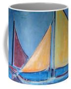 Sailboats With Red And Yellow Sails Coffee Mug