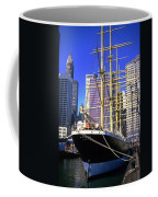 Sailing Boat Anchored In South Street Seaport 1984 Coffee Mug
