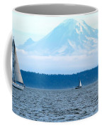 Sailing In Mt. Rainier's Shadow Coffee Mug
