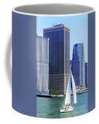 Sailing Past The Skyscrapers Coffee Mug