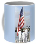 Sailors Hoist The American Flag Coffee Mug