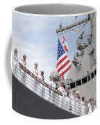 Sailors Man The Rails Aboard Uss Coffee Mug