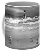 Saint Joseph Michigan Lighthouses Stormy Day At Silver Beach I Bw Coffee Mug