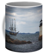 Salem's Friendship Sails Past Fort Pickering Lighthouse Coffee Mug