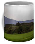 Saltire And The Ruins Of The Urquhart Castle In Scotland At A He Coffee Mug