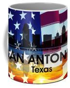 San Antonio Tx Patriotic Large Cityscape Coffee Mug