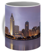San Diego Skyline At Dusk Panoramic Coffee Mug by Adam Romanowicz