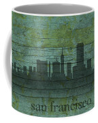 San Francisco California Skyline Silhouette Distressed On Worn Peeling Wood Coffee Mug