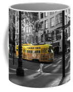 San Francisco Vintage Streetcar On Market Street - 5d19798 - Black And White And Yellow Coffee Mug