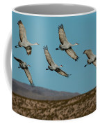 Sandhill Cranes Over Chupadera Mountains Coffee Mug